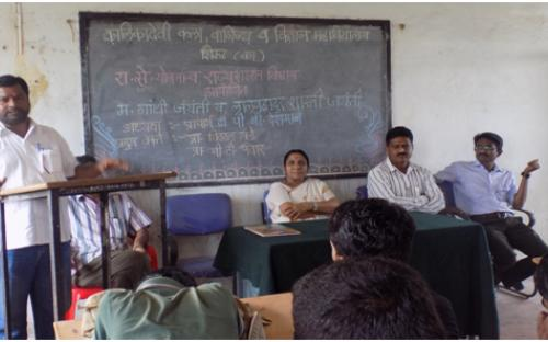 Prof. B.T. Pawar delivering lecture on the Occasion of Anniversary of Mhatma Gandhi